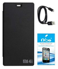 Tbz Flip Cover Case For Xiaomi Mi 4I With Tempered Screen Guard And Data Cable -Black