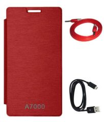 Tbz Flip Cover Case For Lenovo A7000 With Data Cable And Aux Cable -Red