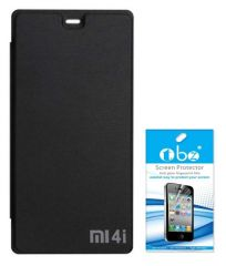 Tbz Flip Cover Case For Xiaomi Mi 4I With Tempered Screen Guard -Black