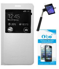 Tbz Flip Cover Case For Samsung Galaxy On5 With Tempered Screen Guard And Selfie Stick Monopod - White