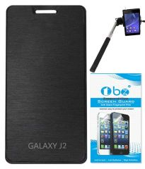 Tbz Flip Cover For Samsung Galaxy J2 With Tempered Glass Screen Guard And Selfie Stick Monopod With Aux Cable -Black