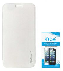 TBZ Flip Cover Case For Samsung Galaxy On7 With Tempered Screen Guard - White