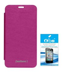 Tbz Flip Cover Case For Asus Zenfone 2 With Tempered Screen Guard -Pink