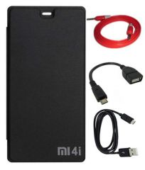 Tbz Flip Cover Case For Xiaomi Mi 4I With Data Cable And Aux Cable And Otg Cable -Black
