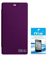 Tbz Flip Cover Case For Xiaomi Mi 4I With Tempered Screen Guard -Purple