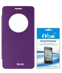 Tbz Flip Cover Case For Asus Zenfone 5 With Tempered Screen Guard - Purple