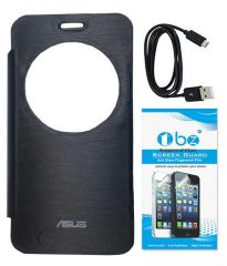 Tbz Flip Cover Case For Asus Zenfone 2 Laser -Ze550Kl With Tempered Glass Screen Guard And Data Cable -Black