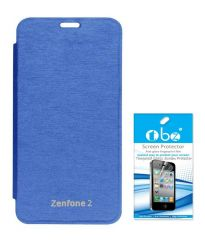 Tbz Flip Cover Case For Asus Zenfone 2 With Tempered Screen Guard -Blue
