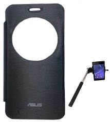 TBZ Flip Cover Case For Asus ZenFone 2 Laser -ZE550KL With Selfie Stick Monopod With Aux -Black
