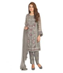 MF Retail Grey Color Faux Georgette Fabric Embroidered  Semi Stitched Designer Salwar Suit (Product Code - Zarqash_02)