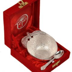 Vivan Creation Silver Polished Apple Shape Brass Bowl n Spoon 272