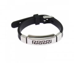 Sanaa Creations Leather Black Bracelet Mens Jewelry With Strips On Top-(Product Code-1MB115)
