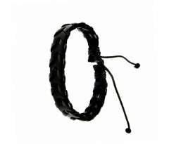 Sanaa Creations Stylish Real Leather Black Color Woven Cuff Bracelet-(Product Code-1MB130)