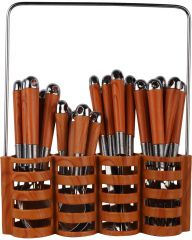 Brown 24 Piece Cutlery Set With Stand Stainless Steel Cutlery Set Comes With Main Spoon, Fork, Tea Spoon, Butter Knife