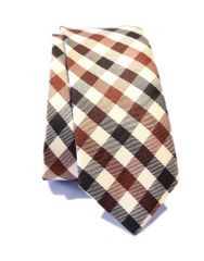 """Dha1 Blue And White Checkered Polyester Men""""s  Tie"""