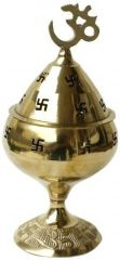 Brass Diya Oil Burner With Om On The Top For Pooja Aarti In Temple Height 16 Cm