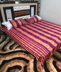 Peponi Multicolour Silk Double Bed Cover With 2 Pillow Covers