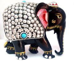 Wooden Elephant Statue Painted & Metal Work Figurine For Home Decor - 6 Inch