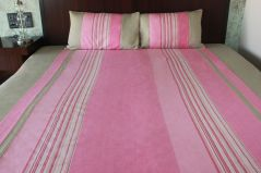 Blueberry Home Pink Color Cotton Fabric Pack Of 3 Bed Cover Set (This Set Include 1 Bed Sheet + 2 Pillow Covers)