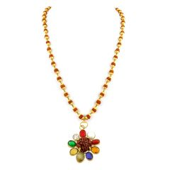 NirvanaGems Navratna In Panchdhatu With Rudraksha Beads Necklace-NVG-030RF