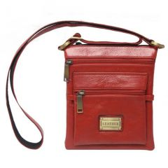 Chanter Texture Design Genuine Leather  Red Sling Cross Bag - RA736