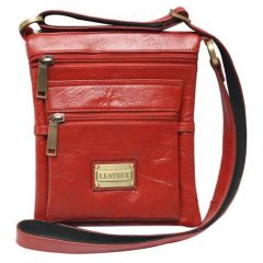 Chanter Texture Design Genuine Leather  Red Sling Cross Bag - RA738