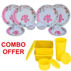 Czar Combo Of Pink Flower 12 Pcs Dinner Set With Topware Lunch Box-SET OF 4