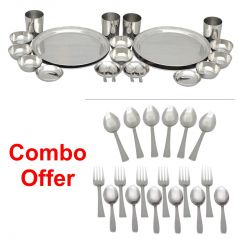 Czar Combo Of 24 Pc Stainless Steel Dinner Set  With 18 Pc Steel Cutlery