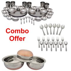 Czar Combo Of 36 Pcs Stainless Steel Dinnner Set With 18 Pc Steel Cutlery And Donga