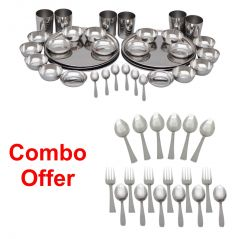 Czar Combo Of 36 Pcs Stainless Steel Dinnner Set With 18 Pc Steel Cutlery