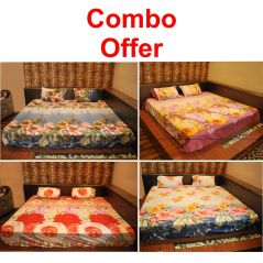 Czar Combo Of 3D Double Bed Sheet With 8 Pillow Covers Pack Of 4 (Purple, Blue, Sky Blue And Orange)