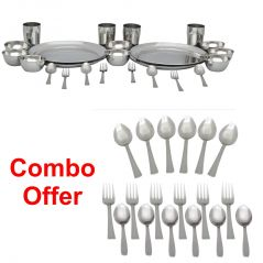 Czar Combo Of  24 Pc Stainless Steel Dinner Set  (Economy) With 18 Pc Steel Cutlery