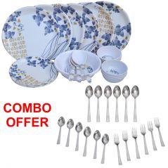 Czar Combo Of 24 Pcs Dinner Set-1005 With Sleek 18 Pcs Cutlery Set