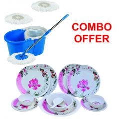 Czar Combo Of Easy Mop With Bucket With Pink Melamine 16 Pcs Dinner Set