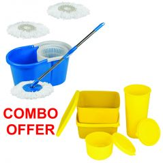 Czar Combo Of Easy Mop With Bucket With Lunch Box-SET OF 4