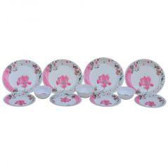 Czar Life Styles Smart Pink Flower 12 Pcs Dinner Set