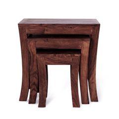 Inhouz Sheesham Wood Royal Arc Nesting Stool Set (Walnut Finish)