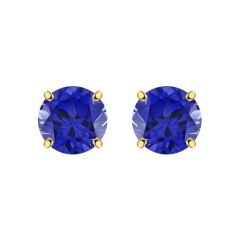 Blue Sapphire Solitaire Stud Earring For Ladies Daily Wear In 925 Sterling Silver By Silver Dew