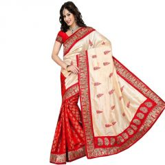 Bollywood Replica Shoppingekart Printed Fashion Art Silk Saree - (code -silky_red)