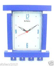 Blue 2 In 1 Wall Clock Key Holder For Home Office Simple Useful Gifts-WC512