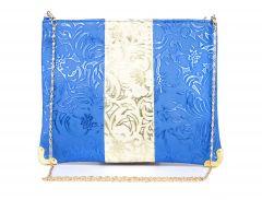 Rysha Blue PU Self Design Sling Bag For Womens - RY1014