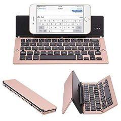 8a3a8722649 UnTech Foldable Wireless Bluetooth Keyboard with Kickstand F18 (Rose Gold)