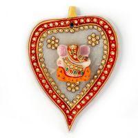 Sunshine Rajasthan Gold Painted Lord Ganesha Idol On Leaf In Marble
