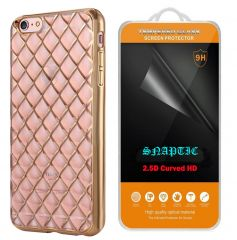 Snaptic Diamond Grid Chrome TPU Cover And 2.5D HD Tempered Glass For Lenovo Vibe K5