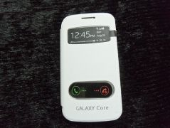 Samsung Galaxy Core I8262 S View Flip Cover With Free Screen Guard (White)