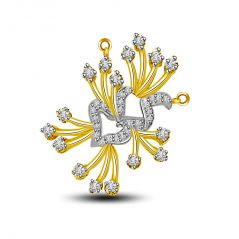 Surat Diamond Flower Shape 3 Dimensional Diamond & Gold Pendant DN258