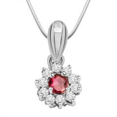Surat Diamond Star Of The Show - Ruby, Real Diamond & Sterling Silver Pendant With 18 IN Chain SDP172