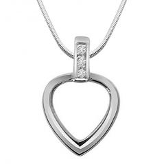 Surat Diamond Heart Of Silver - Real Diamond & Sterling Silver Pendant With 18 IN Chain SDP177