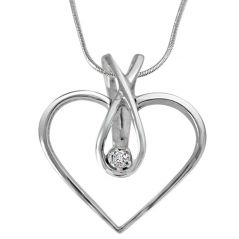 Surat Diamond Endless Love Real Diamond Pendant In Sterling Silver With Silver Finished 18 IN Chain SDP225