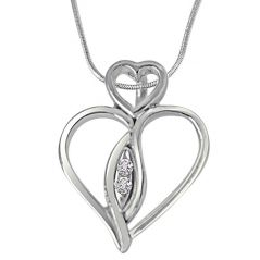 Surat Diamond Love From Above - Real Diamond & Sterling Silver Pendant With Silver Finished 18 IN Chain SDP227